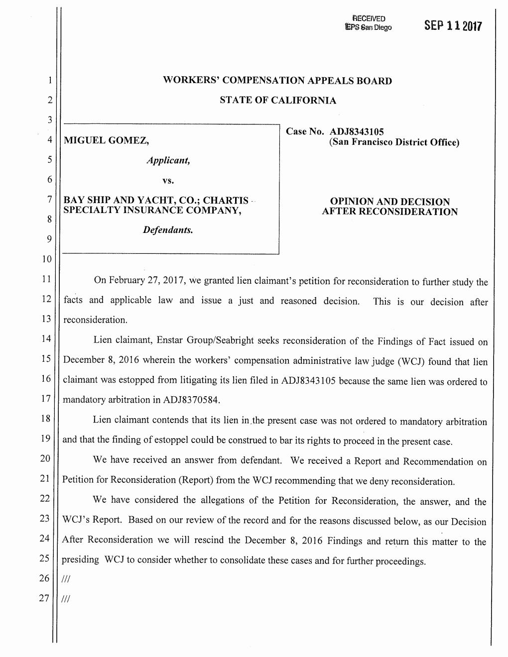 Top 25 2017 Case Gomez v Bay Ship WCAB Opinion and Decision after Reconsideration