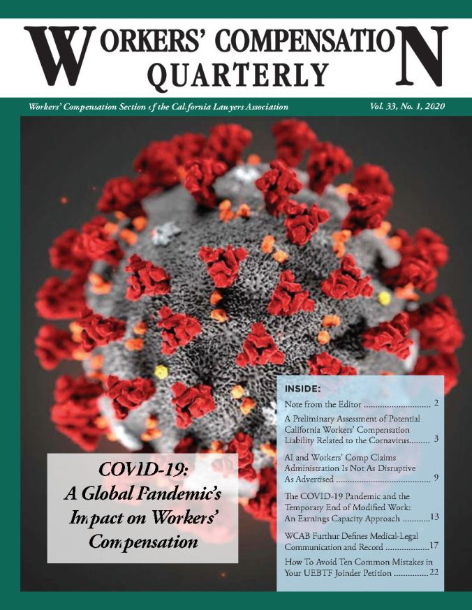 WC QUARTERLY VOL 33 No.1 WCAB FURTHER DEFINES MED-LEGAL COMMUNICATION...