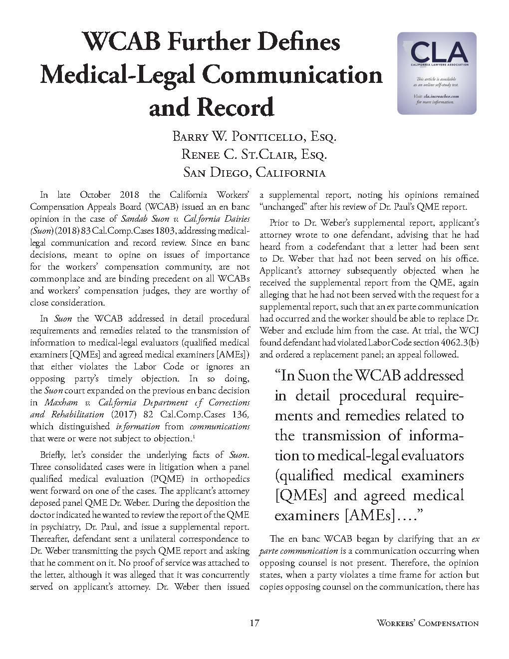 WC QUARTERLY VOL 33 No.1 WCAB FURTHER DEFINES MED-LEGAL COMMUNICATION...1